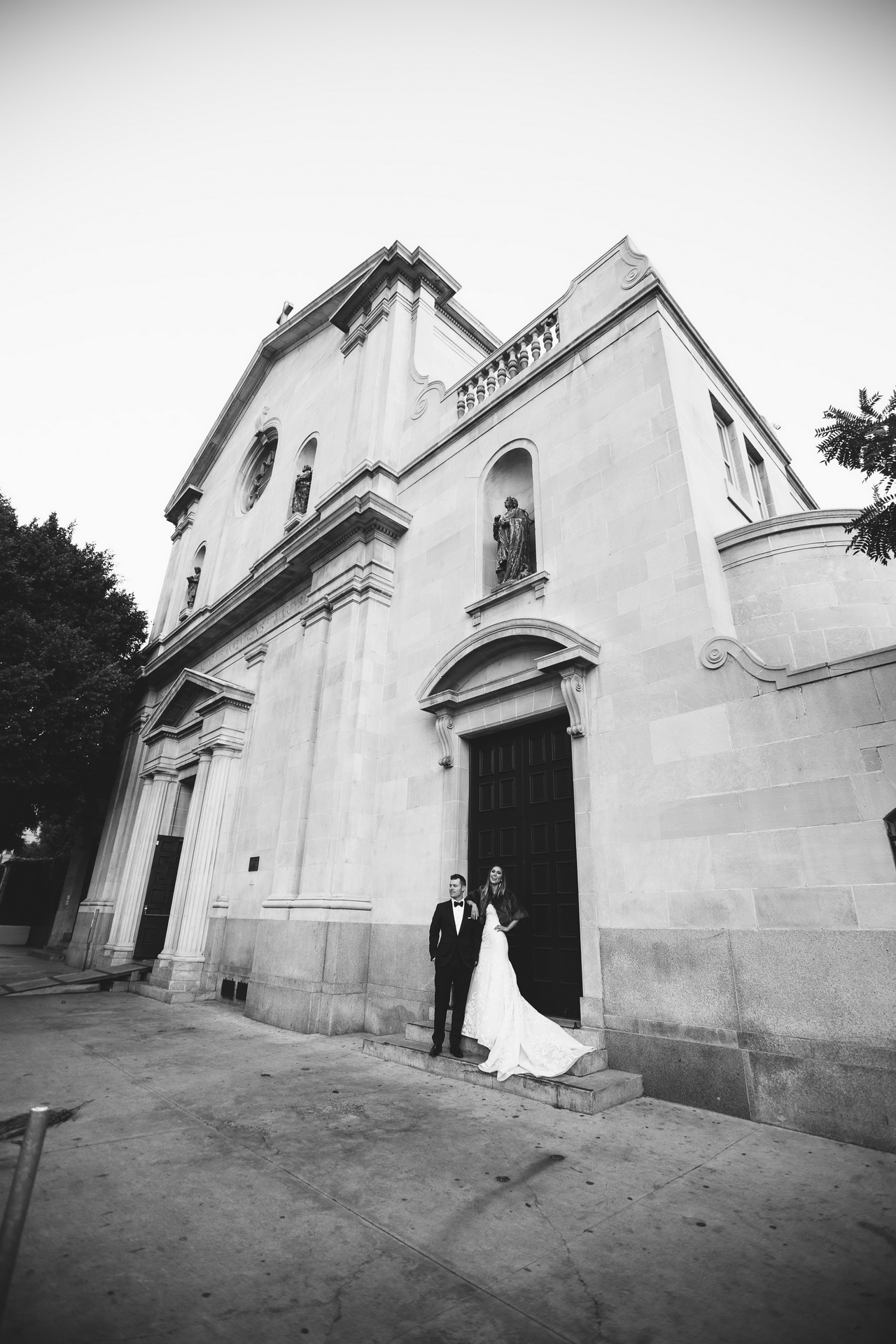 bride and groom outside vibiana wedding venue los angeles
