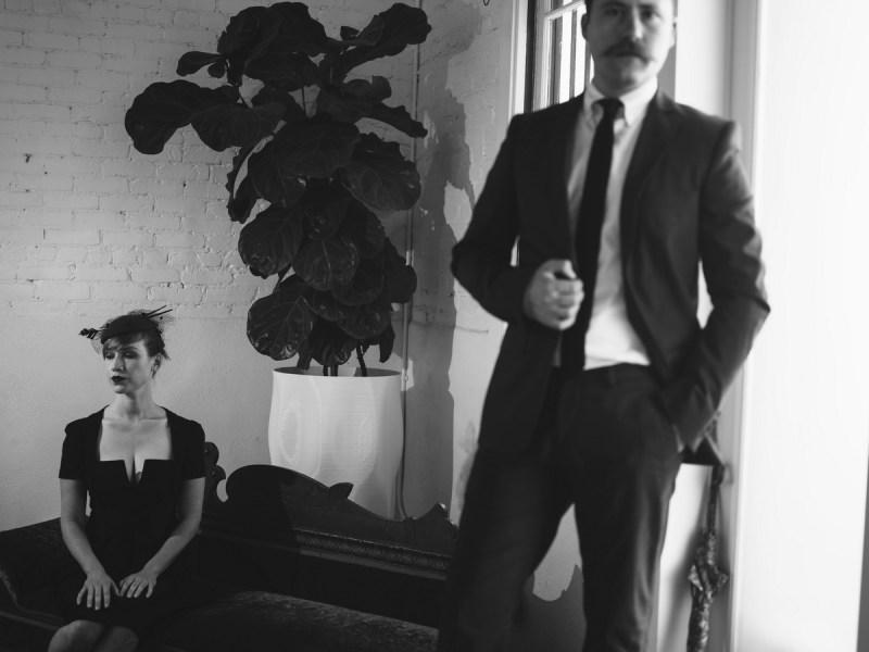 film noir engagement session photo by nicole caldwell studio 19