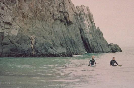 laguna beach surf couple engagement photos on beach film photographer orange county