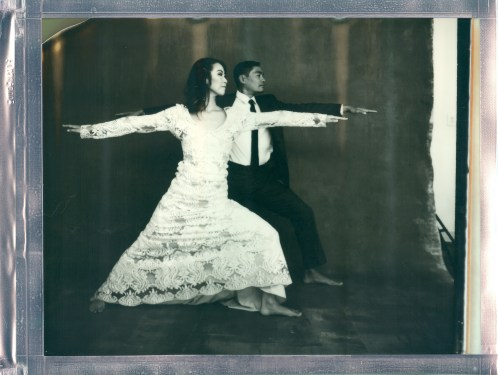 yoga couple wedding 8 x 10 polaroid impossible project warrior 2 pose