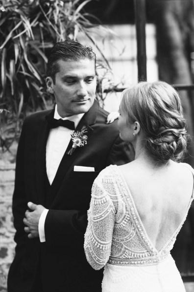 bride and groom wedding carondelet house