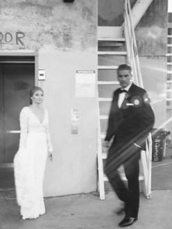 bride and groom carondelet house wedding parking structure