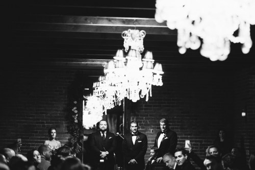 wedding ceremony carondelet house black and white film