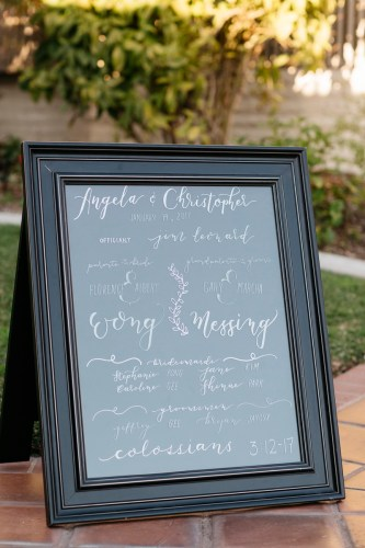 sherman gardens wedding corona del mar ceremony sign
