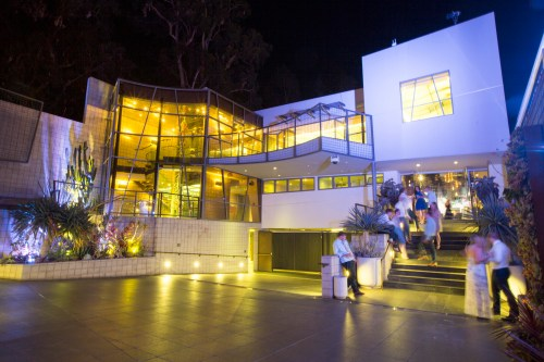 exterior at night laguna beach wedding venue seven degrees photographer nicole caldwell