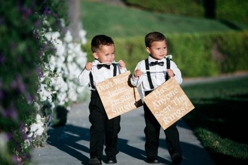 ring bearers walking down aisle wedding ceremony bel air bay club wedding palos verdes