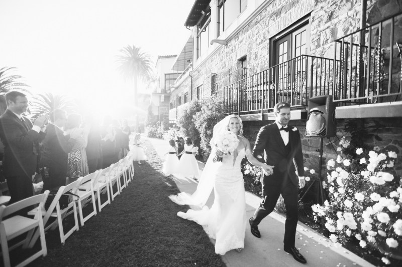Bride and Groom walking down Aisle wedding bel air bay club malibu ca