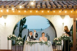 casa romantica san clemente wedding photographer sweetheart table bride and groom