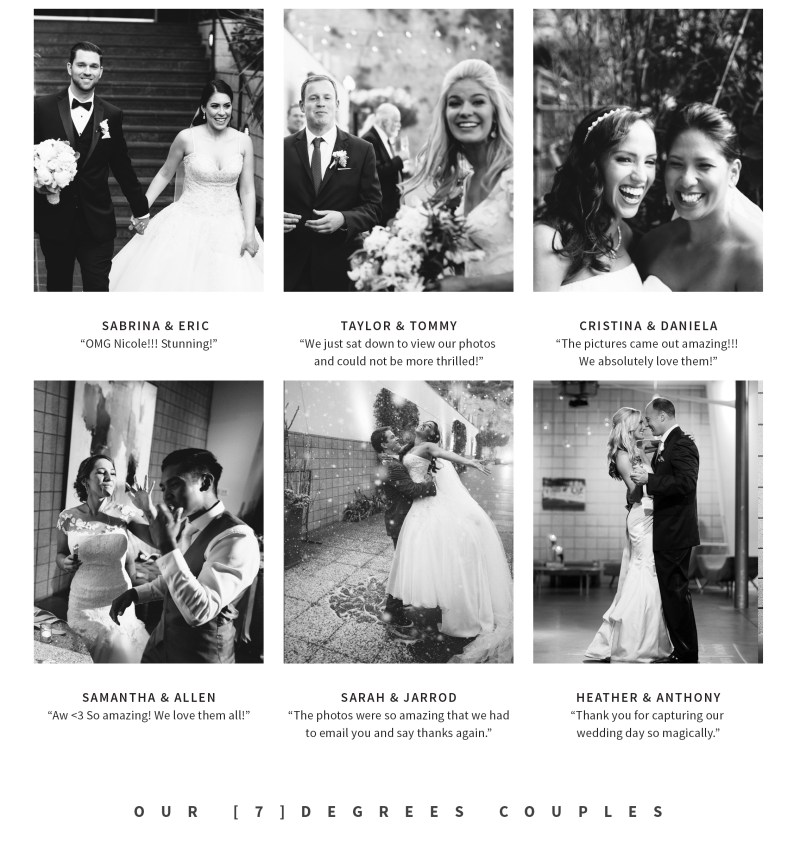 7 degrees couples reviews nicole cldwell studio weddings