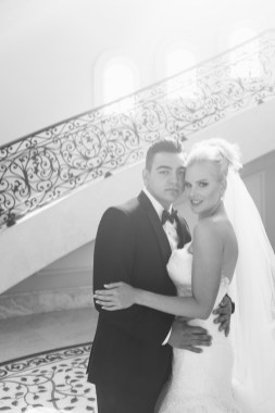 bride and groom stairs Monarch beach resort wedding photographer nicole caldwell