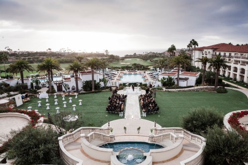 wedding ceremony top view Monarch beach resort wedding photographer nicole caldwell