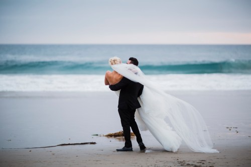 Monarch beach resort wedding photographer nicole caldwell bride and groom on beach