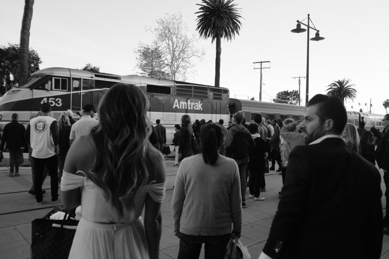 engagement photos santa barbara train station nicole caldwell