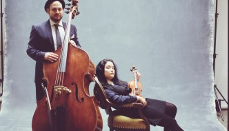 Engagement in the studio, a Bass and Viola for this musical couple