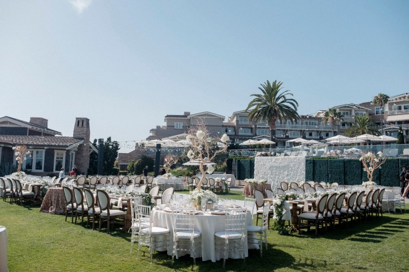 lawn receotion bride and groom wedding montage laguna beach