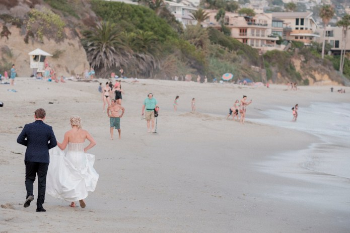 bride and groom on beach montage laguna beach
