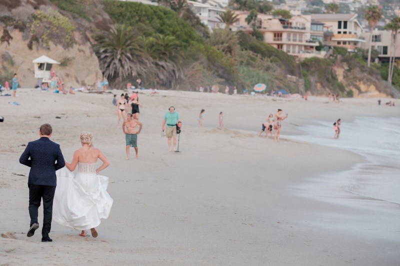 bride and groom on beach montage laguna beach