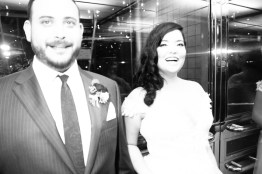 bride and groom in elevator laughing seven degrees wedding photographer laguna beach
