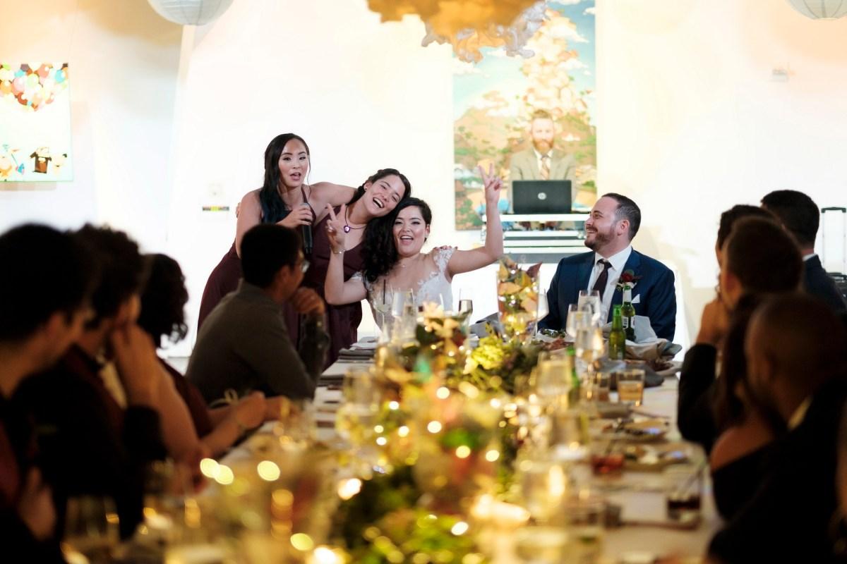 bride and groom speeches seven degrees wedding photographer laguna beach