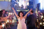 bride showing peace sign seven degrees wedding photographer laguna beach sparkler sendoff