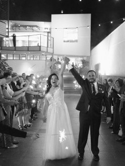 bride and groom at seven degrees wedding sparkler sendoff top wedding photographer nicole caldwell