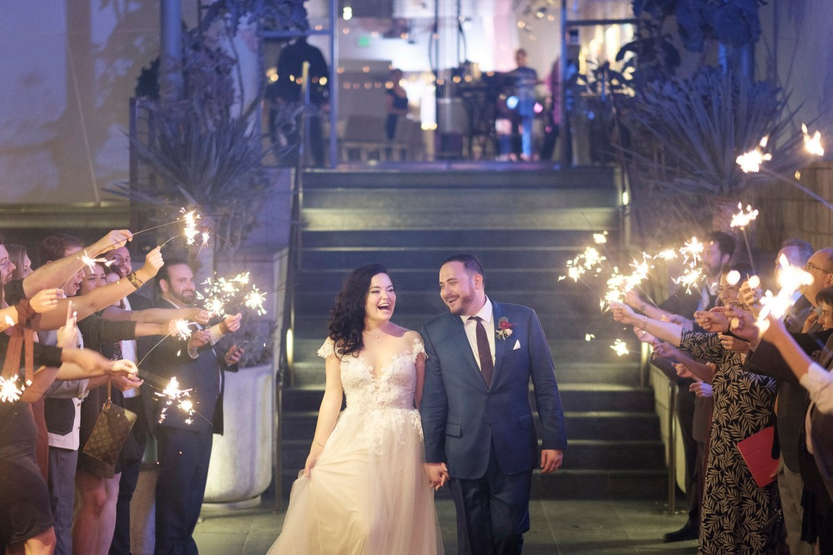 seven degrees wedding photographer laguna beach sparkler sendoff wedding