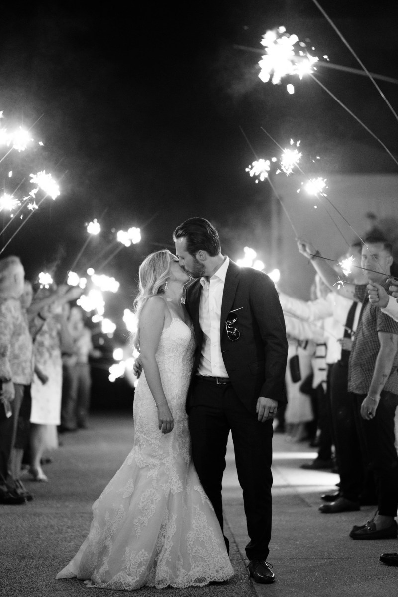 sparkler bride and groom kissing Coto De Caza Raquet and golf club weddings by nicole caldwell
