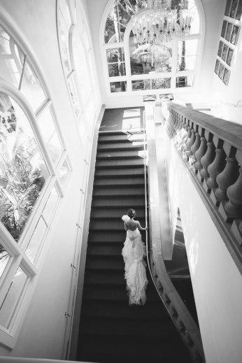 bride walking stairs wedding laguna niguel ritz carlton