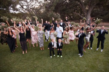 temecula creek inn weddings stonehouse ceremony bridal party jumping