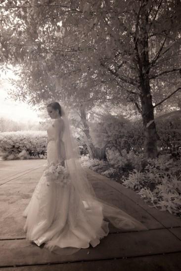 French Estate wedding photographer orange infrared photography of bride