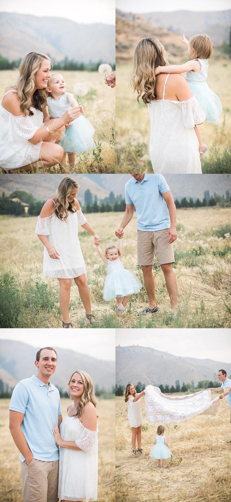 family photos in dandelion field
