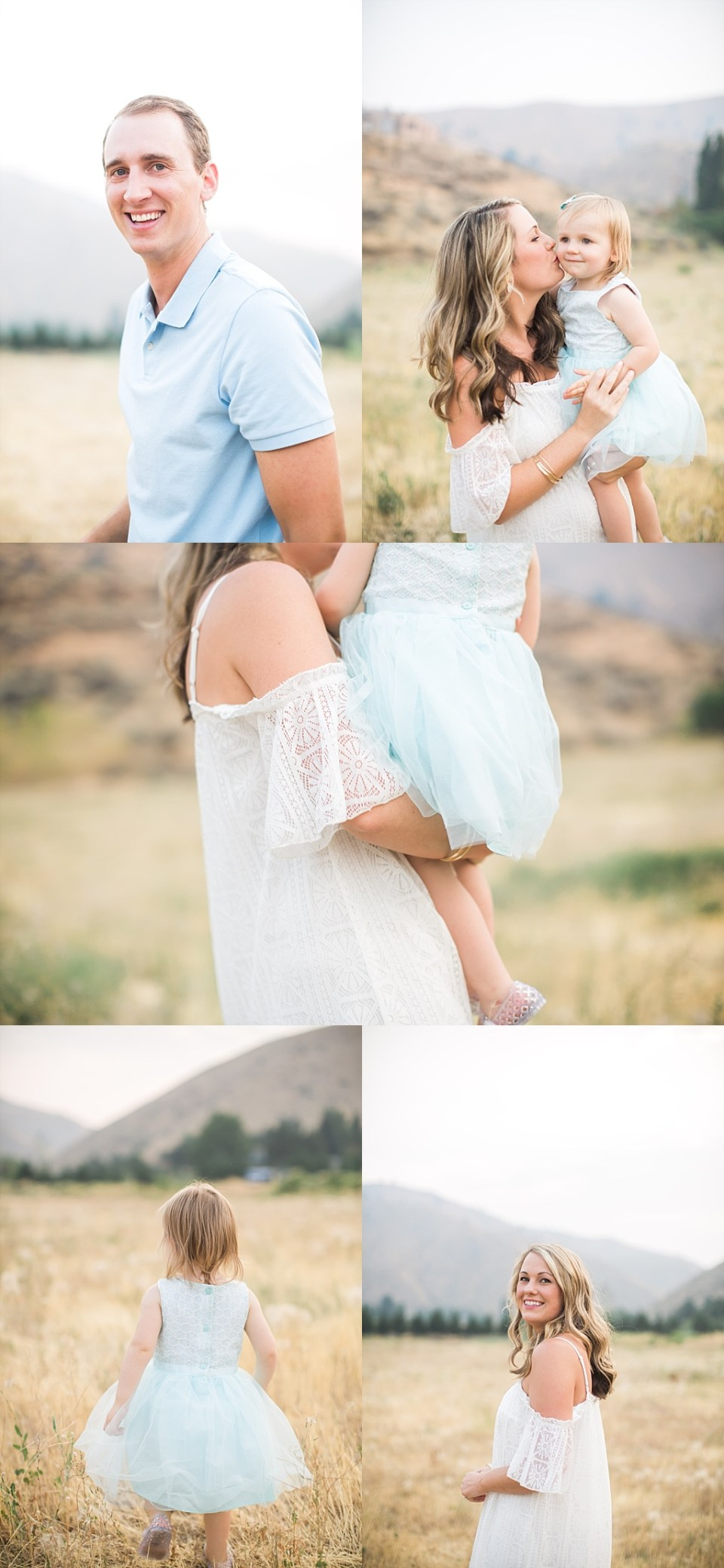 white cold shoulder dress for family photos in field