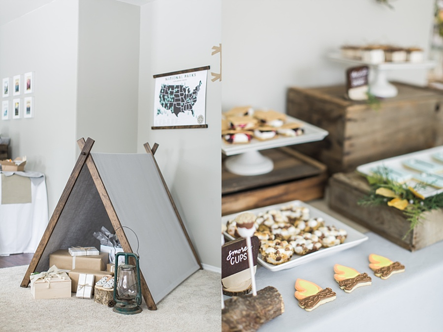 gifts under a diy tent and campfire cookies for national parks baby shower