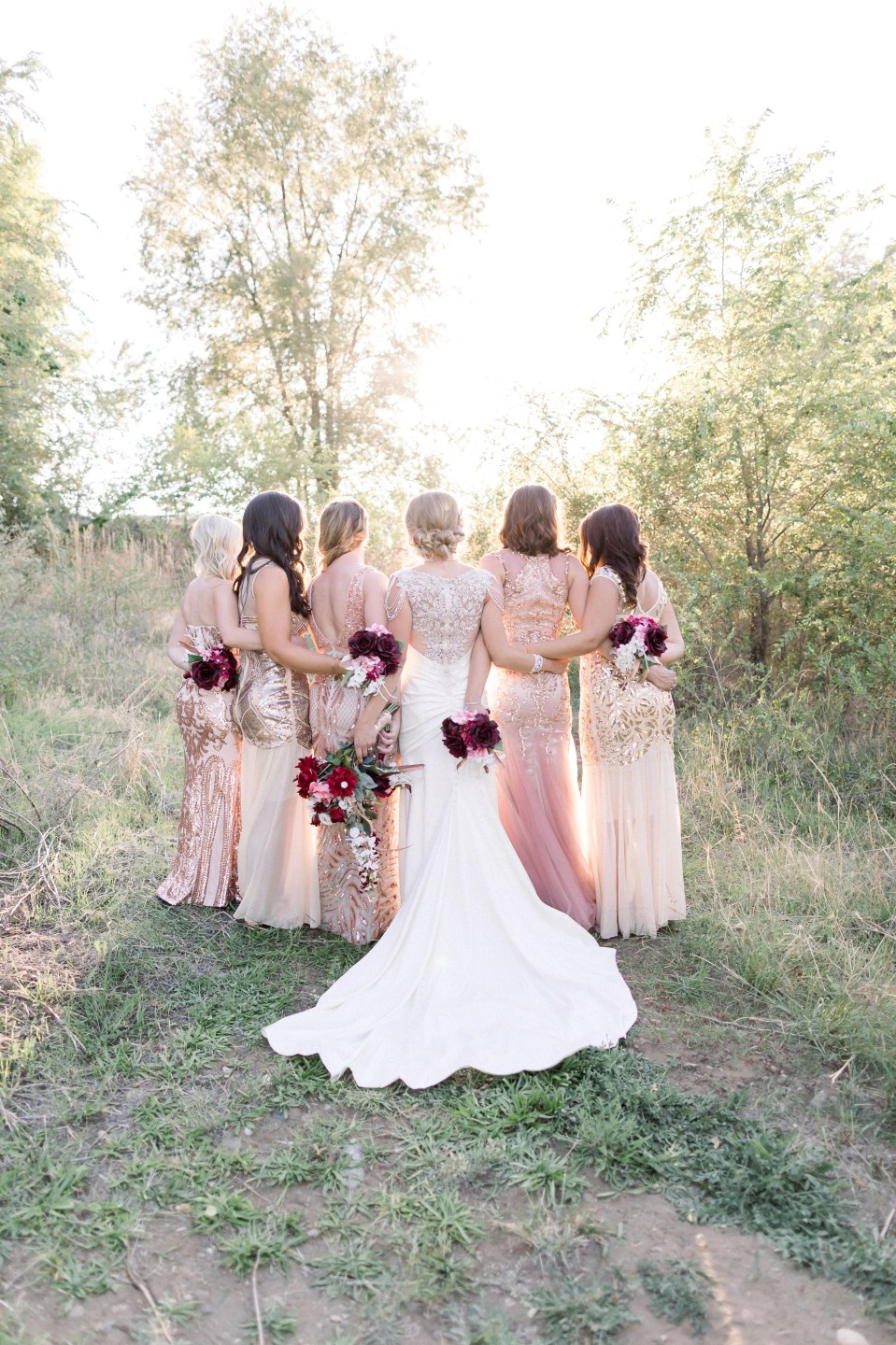 rose gold and champagne bridesmaids dresses