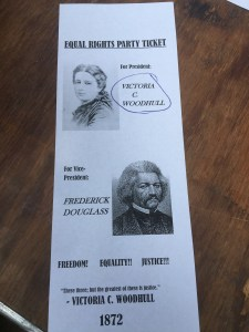 This ballot for the Equal Rights Party at the re-enactment of 1872 shows what the ballot for Victoria may have looked like. Note that no historical ballots for her exist.