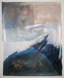Ebb and Flow, 33″x42″, acrylic, monoprint, salt, on paper ©2014