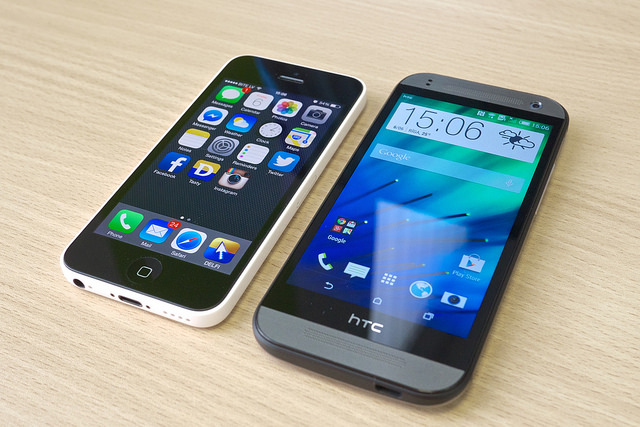 iPhone next to Android phone