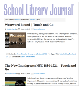 App reviews in School Library Journal