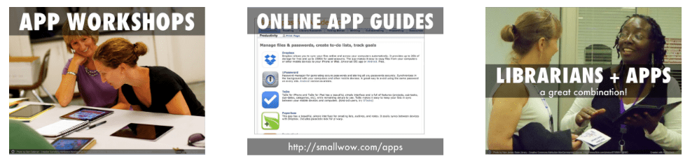 App workshops, app guides, librarians + apps
