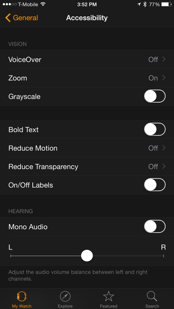 accessibility settings screen
