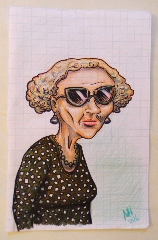 caricature of a lady in Venice, Italy
