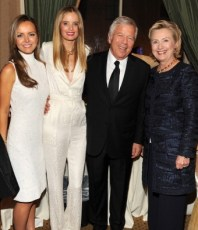 With Ricki Lander, Robert Kraft, and Hillary Rodham Clinton at the Elton John AIDS Foundation Gala in NYC