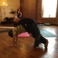 Sam and Andrew practice partner yoga in Tweens Yoga, February 2015.