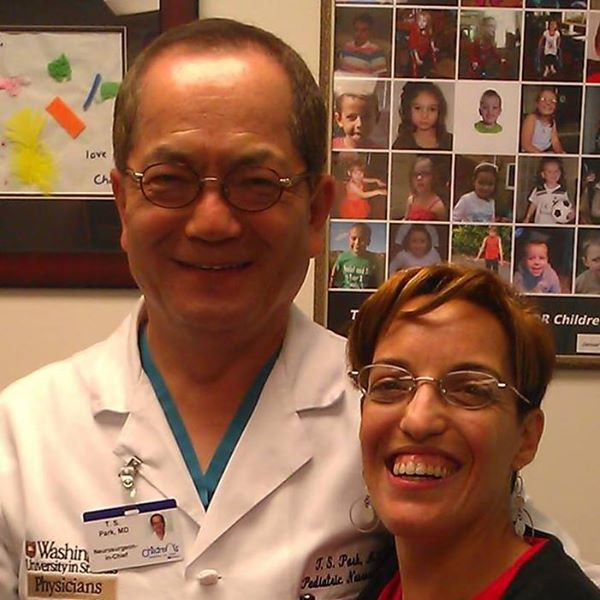 Dr. Park and me at my four-month evaluation after SDR.