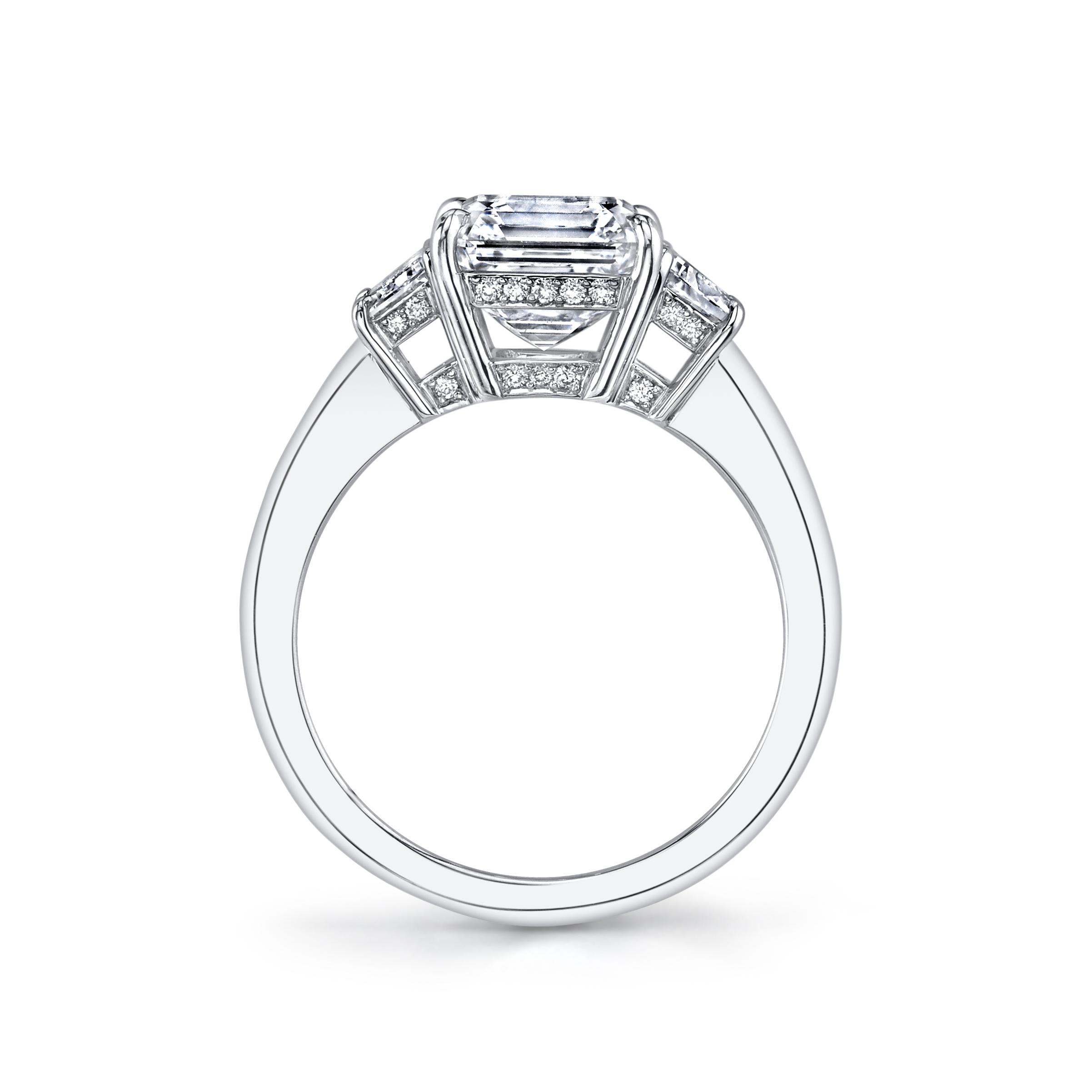 Asscher Cut Amp T Zoid Diamond Three Stone Ring
