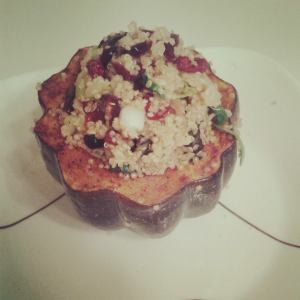 Stuffed acorn squash with quinoa, kale and cranberries