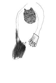 Dessin de Nicole Panneton - La chute - Graphite et feutre - Cahier de croquis - 2012