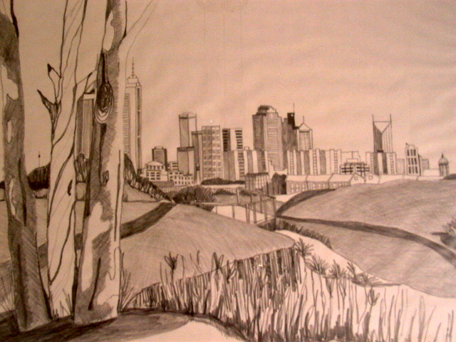 Melbourne from Yarra Bend Park, pencil on paper
