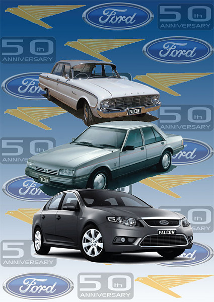 Nicole Phillips, designer, Ford Falcon 50th anniversary poster featuring Falcons from the past 50 years.