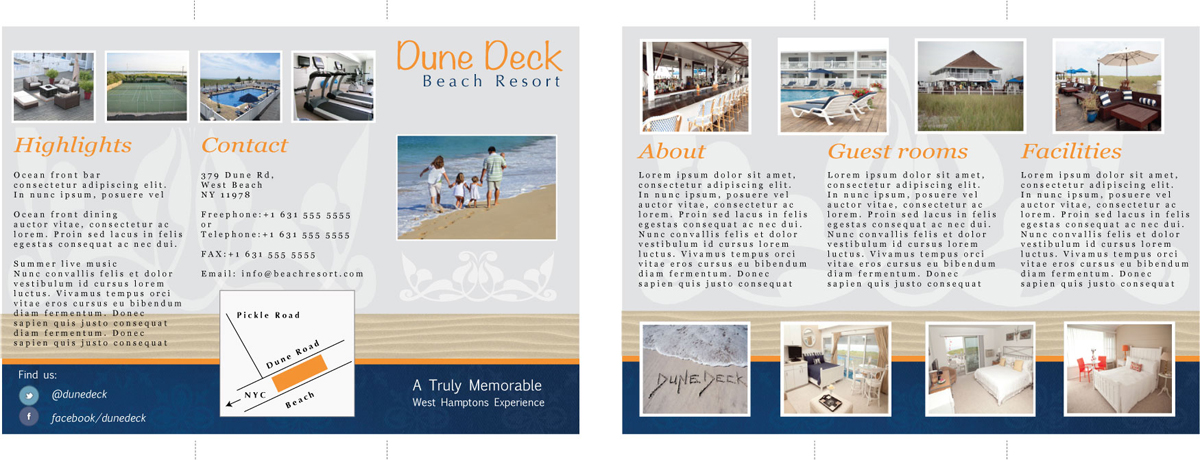 Nicole Phillips designer, beach resort brochure